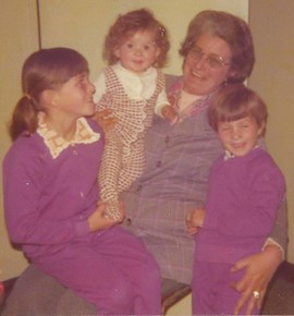 With my two sisters and my grandmother